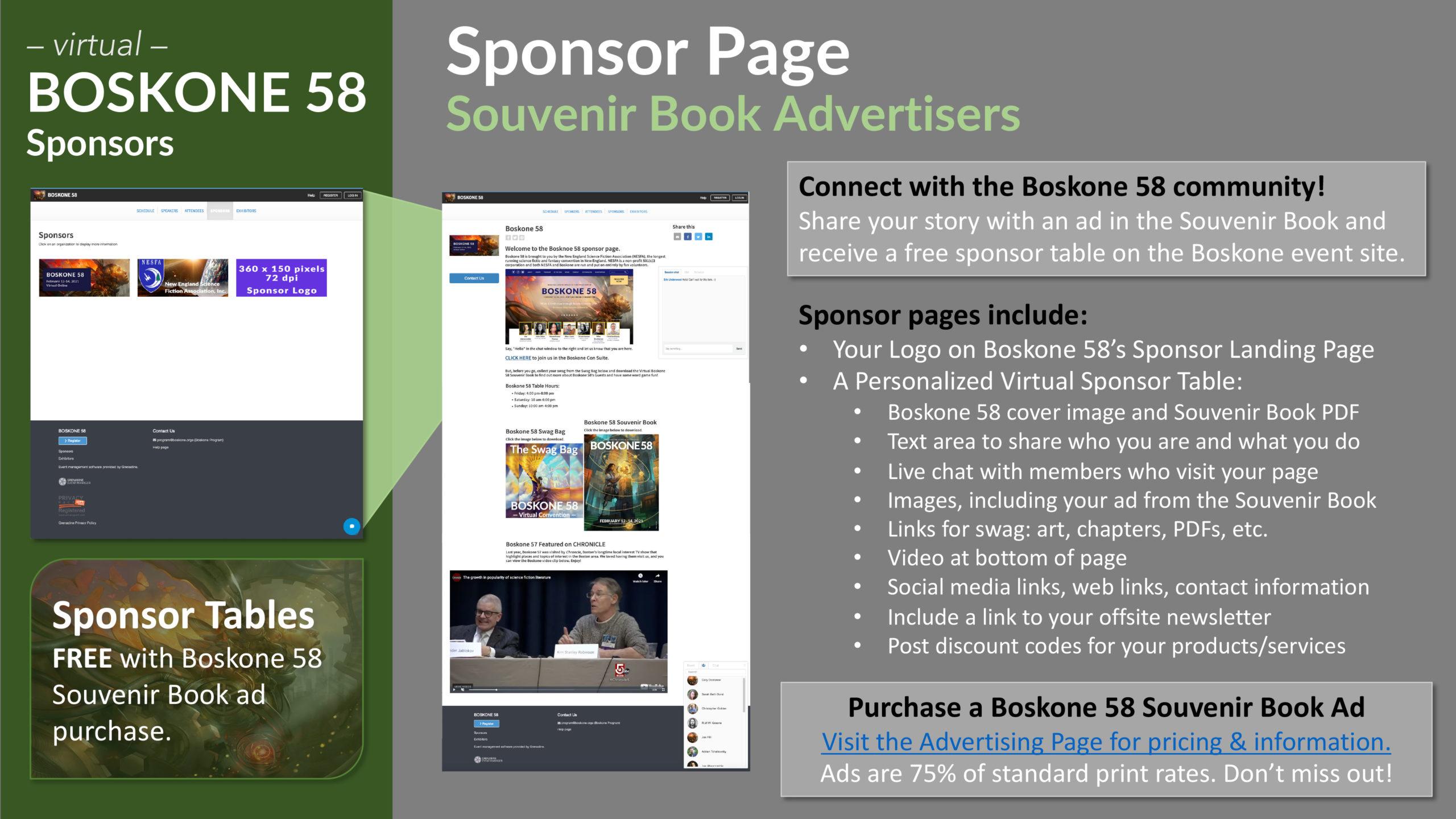 Boskone 58 Sponsor Tables